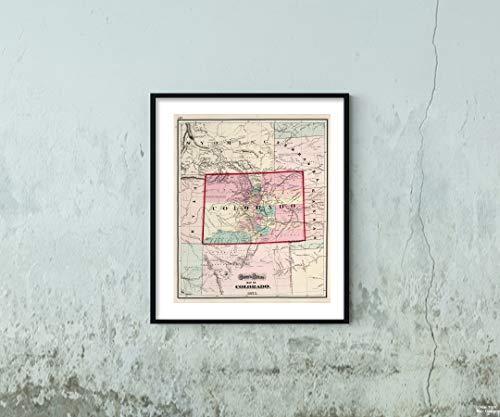 Map|World Atlas, Colorado. 1873|Historic Antique Vintage Reprint|Size: 20x24|Ready to Frame ()