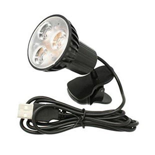 Gotd USB 3-LED Clip-on Table Desk Reading Light Lamp Bulb For Laptop Computer, USB Power (Black)