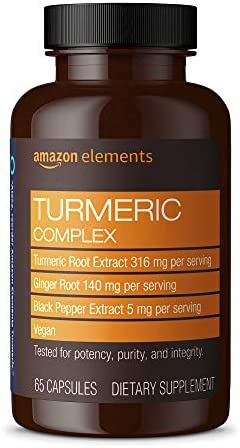 Amazon Elements Turmeric Complex, 316 mg Curcumin, 140 mg Ginger, 5 mg Black Pepper - Joint & Immune System, Healthy Inflammation Response - 65 Capsules (2 month provide)