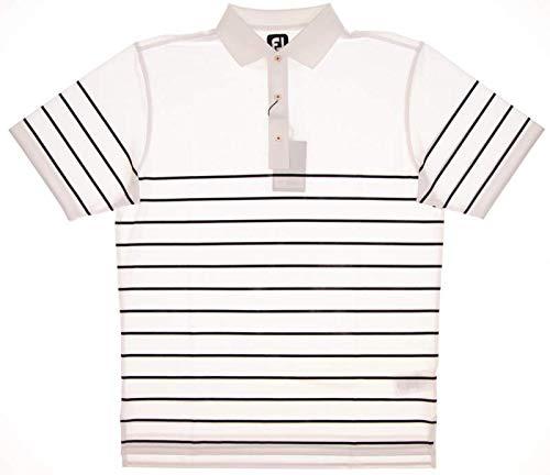 (FootJoy Men's Stretch Pique Engineered Stripe Knit Golf Polo (M, White/Black))