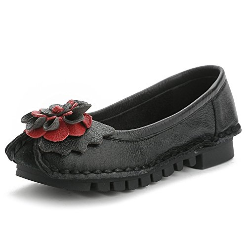 L@YC® Zapatos de tacón bajo de cuero de las mujeres zapatos de la bola de la boda del satén de la bomba de la parte inferior suave suave / rojo / negro Black