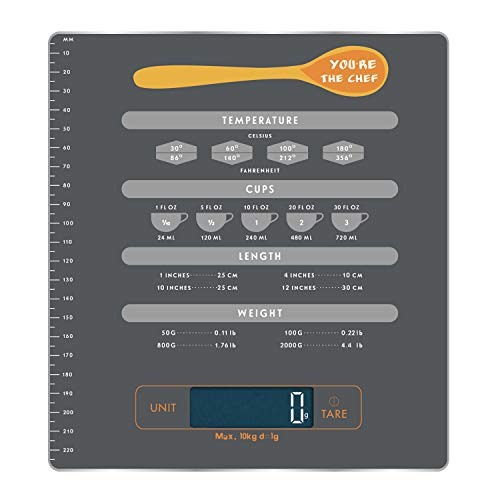 Food Scale Kitchen Digital Scale with Measurement and Unite Conversion Chart, i-star Multifunction Weight Touch Sensitive Kitchen Scale, Measure Dry and Liquid, Back-lit LCD Display, Easy to Clean wit