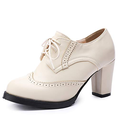 Odema Womens PU Leather Oxfords Brogue Wingtip Lace up Dress Shoes Chunky High Heels Pumps Oxfords Beige