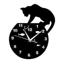 Happy Hours - Creative Wall Clocks / Home DIY Decoration Watch / Cat on Clock Living Room Mirror 3D Wall Design