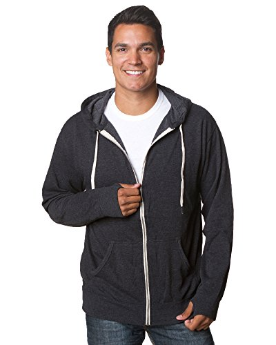 (Global Hoodies for Men French Terry Full Zip Hoodie Hooded Sweatshirt Charcoal Heather L Grey)