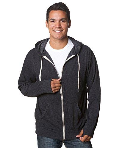 (Global Hoodies for Men French Terry Full Zip Hoodie Hooded Sweatshirt Charcoal Heather L)