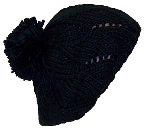 Papillon Hand Knit Solid Color Twist Knit Winter Beret W/Large Pom Pom(One Size) - Black