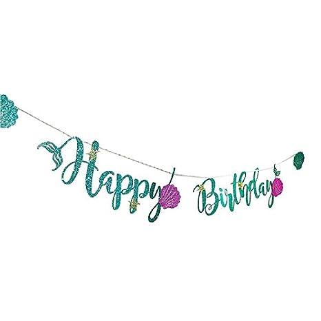 JYOHEY Meerjungfrau Happy Birthday Girlande Gold mit Shell und Seestern Geburtstag Mädchen Girl Girlande Banner Geburtstag Perfekte Geburtstagsfeier Für Mädchen