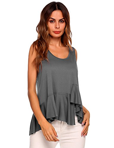 Pleated Ruffle Tank (Easther Women's Casual Pleated Scoop Neck Loose Fit Tank Top)