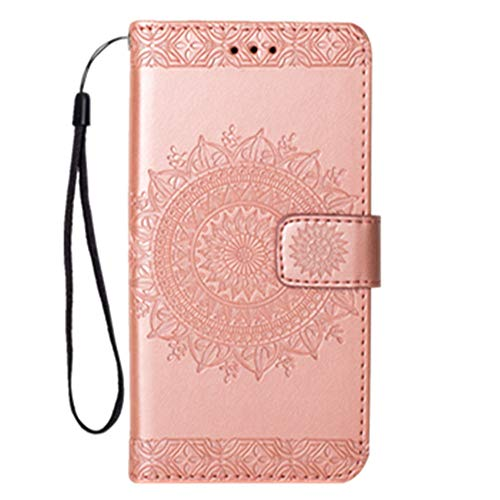 Galaxy S6 Edge Case, Folice Mandala Flower Pattern [Shock Absorbent] PU Leather Kickstand Wallet Cover Durable Flip Case for Samsung Galaxy S6 Edge (Rose Gold) (Samsung S5 Otter Box Wallet Case)