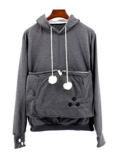 SAIANKE Womens Hoodies Pet Holder Cat Dog Kangaroo Pouch Carriers Pullover Dark Gray -