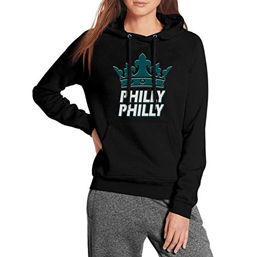 CALM FOX Black Womens Pullover Hoodie Philly-Philly-Philadelphia-Crown- Fleece Long Sleeve