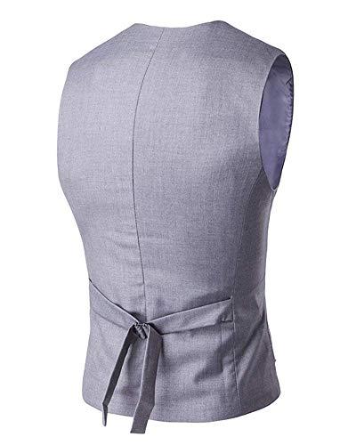 Colletto Battercake Gilet Uomo Suit Sportiva Down Casuale Partito Vest Giacca Mens collo Blazer Button Monopetto Grau Slim V Comodo wtgpqrt