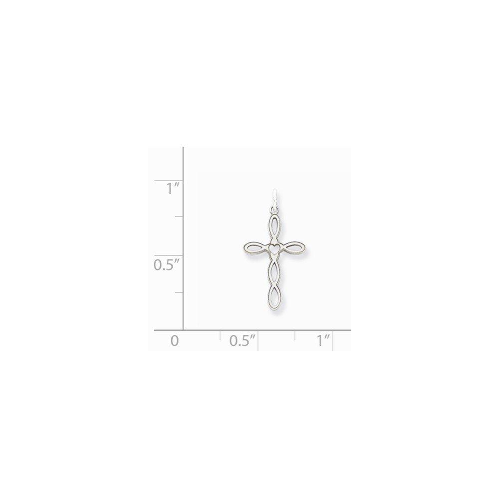 Sterling Silver Laser Designed Cross Charm Pendant 0.79 in x 0.43 in