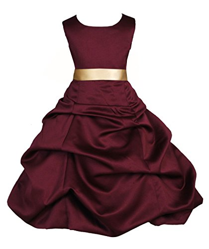ekidsbridal Pick-up Satin Burgundy Flower Girl Dresses Christmas Dresses Formal Dresses Bridesmaid Dresses 806s 8