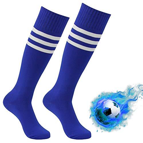 Baseball Socks Striped, Atrest Mens Womens Knee high Cushioned Comfort Moisture-Wicking Soccer Baseball Team Long Tube Striped Softball Socks Blue+White Stripe 2 -