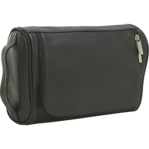 Le Donne Vaqueta Leather Toiletry Bag, Travel Kit in Black