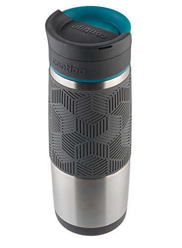 Contigo AUTOSEAL Transit Stainless Steel Travel Mug, 16 oz, Stainless Steel with Blue Accent Lid