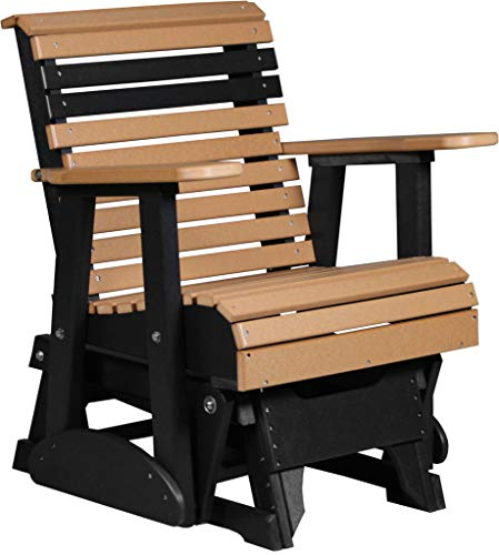 - Furniture Barn USA Outdoor Rollback Glider Chair - Cedar and Black Poly Lumber - Recycled Plastic