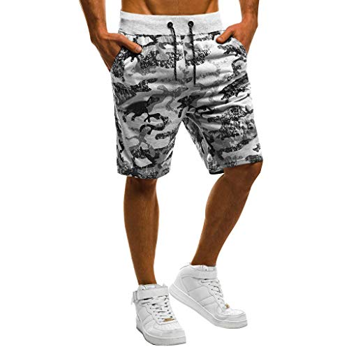 (❤Camouflage Short Pant for Men,Beautyfine Spring Summer Printed Drawstring Beach Surfing Running Cargo Shorts)