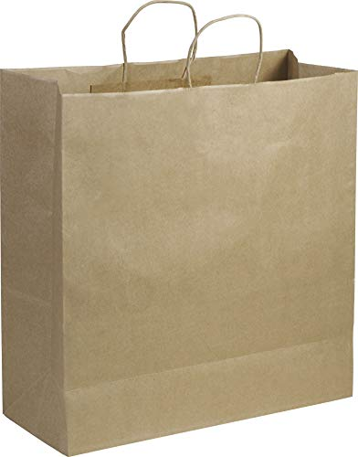 Solid Color Pattern Shopping Bags - Recycled Kraft Paper Shoppers Jumbo, 18 x 7 x 19