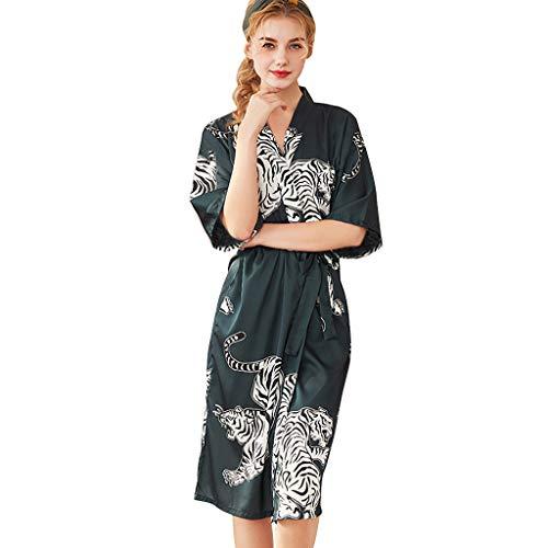 Womola Trim Kimono Robe Nightwear Floral Printed Nightgown Sleepwear Short Satin Robes Slik Chemise for Women