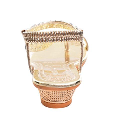 Dear Time Women Gladiator Rhinestone Wedge Sandals Gold wQn0xa