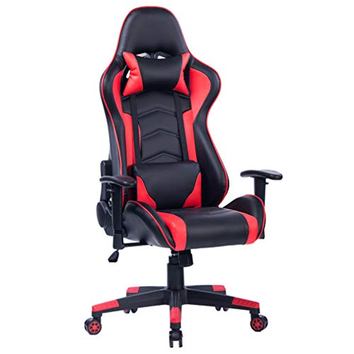 RADSGFTJGYH Pc Gaming Chair & Office Peso MaXimo De 180 Kg -Fabricado En Piel SinteTica -360 ° Capacidad Giratoria-Sillas De Oficina con Brazos, Negro Rojo