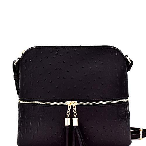 - Ostrich PU Leather Embossed Tassel Accent Zipper Pocket Large Crossbody Bag (Soft Rectangular - Black)