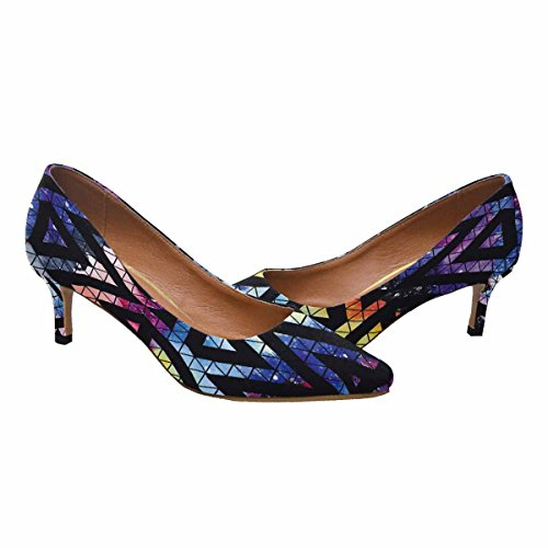 InterestPrint Womens Low Kitten Heel Pointed Toe Dress Pump Shoes Galaxy Pattern With Triangles and Geometric Shapes Multi 1 QRRjxtTz