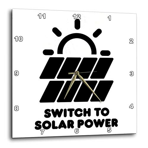 3dRose Carsten Reisinger - Illustrations - Switch to Solar Power Electric Power from The Sun Alternative Energy - 15x15 Wall Clock (DPP_294721_3) by 3dRose