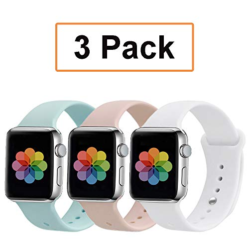 UPSTONE Compatible with Apple Watch Band 38mm 42mm 40mm 44mm Sport Band, Silicone Sport Strap Replacement Bands Compatible for iWatch Series 4/3/2/1 S/M M/L