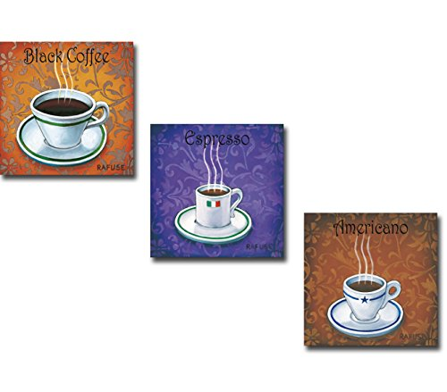 Black Coffee, Espresso, & Americano by Will Rafuse 3-pc Gallery-Wrapped Canvas Giclee Set (Ready-to-Hang)