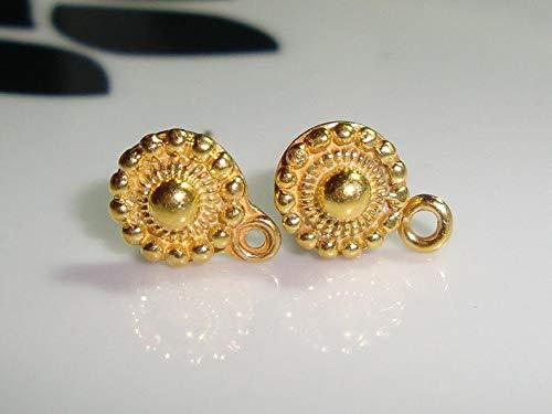 (4 pcs, 8x11mm,24k Vermeil Over Sterling Silver Baliness Vintage Filigree Design Ear Post - EP-0013)