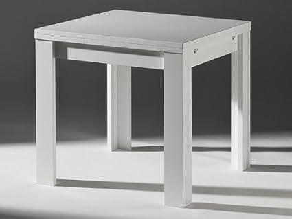 Tavolo da cucina allungabile, bianco 80 x 80 cm: Amazon.it: Casa e ...