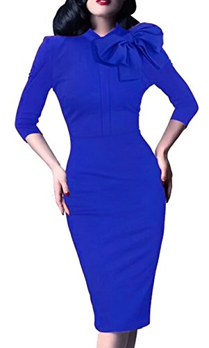 Women's 1950s Retro 3/4 Sleeve Bow Cocktail Party Evening Dress Work Pencil Dress Blue Large (Bow Retro)