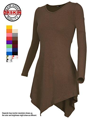 [DRSKIN] Women Handkerchief Hem Long Sleeve Tunic Top (XL, Mocha)