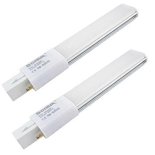 Bonlux 2-Pack 6W G23 2-Pin LED PL-S Lamp Warm White 13W CFL Equivalent, 180 Degree Beam Angle LED PL Horizontal Recessed G23 Bulb for Compact Fluorescent Lamp Replacement (Remove/Bypass The Ballast)