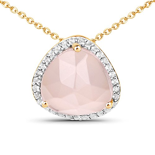 LoveHuang 3.38 Carats Genuine Rose Quartz and White Topaz Pendant Solid .925 Sterling Silver With 18KT Yellow Gold Plating, 18Inch Chain (Genuine Rose Quartz Necklace)