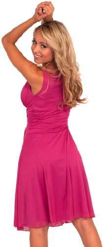 Hot from Hollywood Women's Sleeveless V Neck Rhinestone Sheer Layer Dress