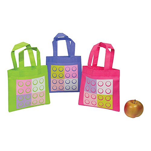 Fun Express Pastel Color Brick Tote Bags | 12 Count | Great for Lego Themed Events, Birthday Party for Girls, Party Prizes & -