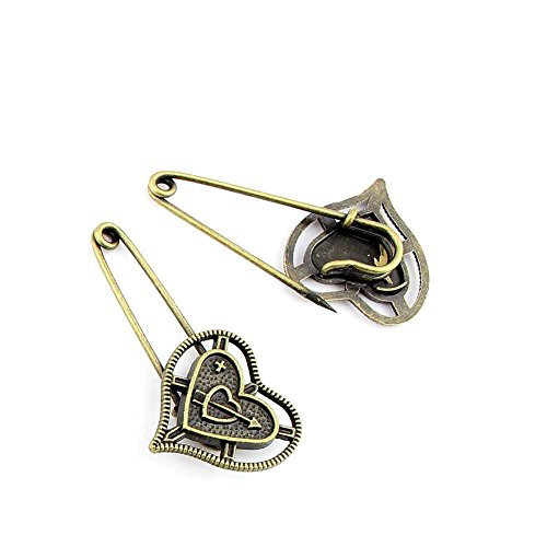 50 Pieces Jewelry Making Findings Antique Bronze Charms FL15550 Love Pin Brooch Craft Lots Repair Supplies