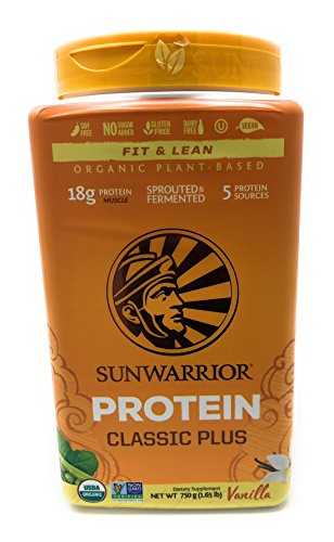 Sunwarrior - Classic Plus, Vegan Protein Powder with Peas & Brown Rice, Raw Organic Plant Based Protein, Vanilla, 30 Servings
