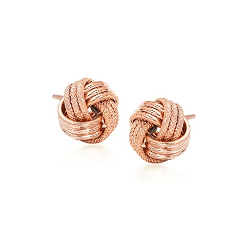 Ross-Simons 14kt Rose Gold Textured and Polished Love Knot Stud ()