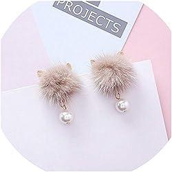 arete de bola de piel de gato para niñas y mujeres con perla colgante, diseño de pompón, joyería de regalo A6302 Caqui