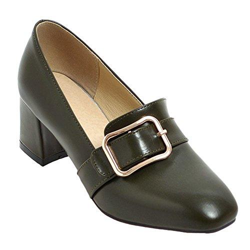 Pied De Charme Femmes Style Vintage Orteil Carré Chunky Talon Boucle Chaussures De Pompe Vert