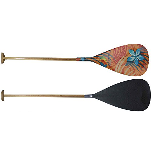 Z&J SPORT Hybrid Outrigger Canoe OC Paddle With Carbon Hawaii Type Graphics Design Blade And Handmade Wooden Bent Oval Shaft (YW-364, (Canoe Paddling Hawaii)