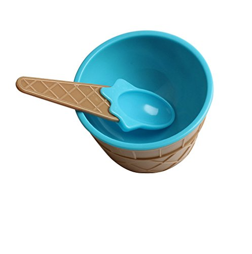 Fan-Ling 1set Kids Plastic Ice Cream Bowl Spoon Set,Durable Children Gifts,Lovely Colorful Dessert Bowl (Blue)