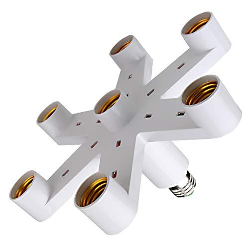 Hirate 7 in 1 LED Light Socket Splitter Adapter Converter for E26 E27 Standard LED Bulbs
