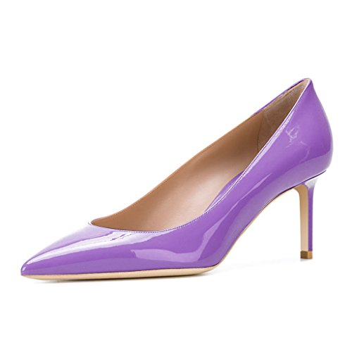 Violet Womens Dress Heels Shoes (XYD Solid Slip On Shoes Pointed Toe Kitten Heel Evening Patent Dress Pumps For Women Size 10 Violet)